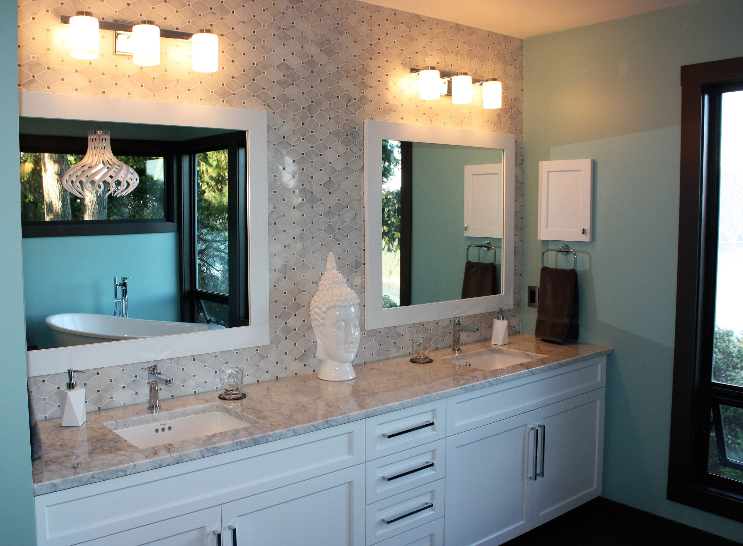 Double Vanity with Mosiac Marble Tile