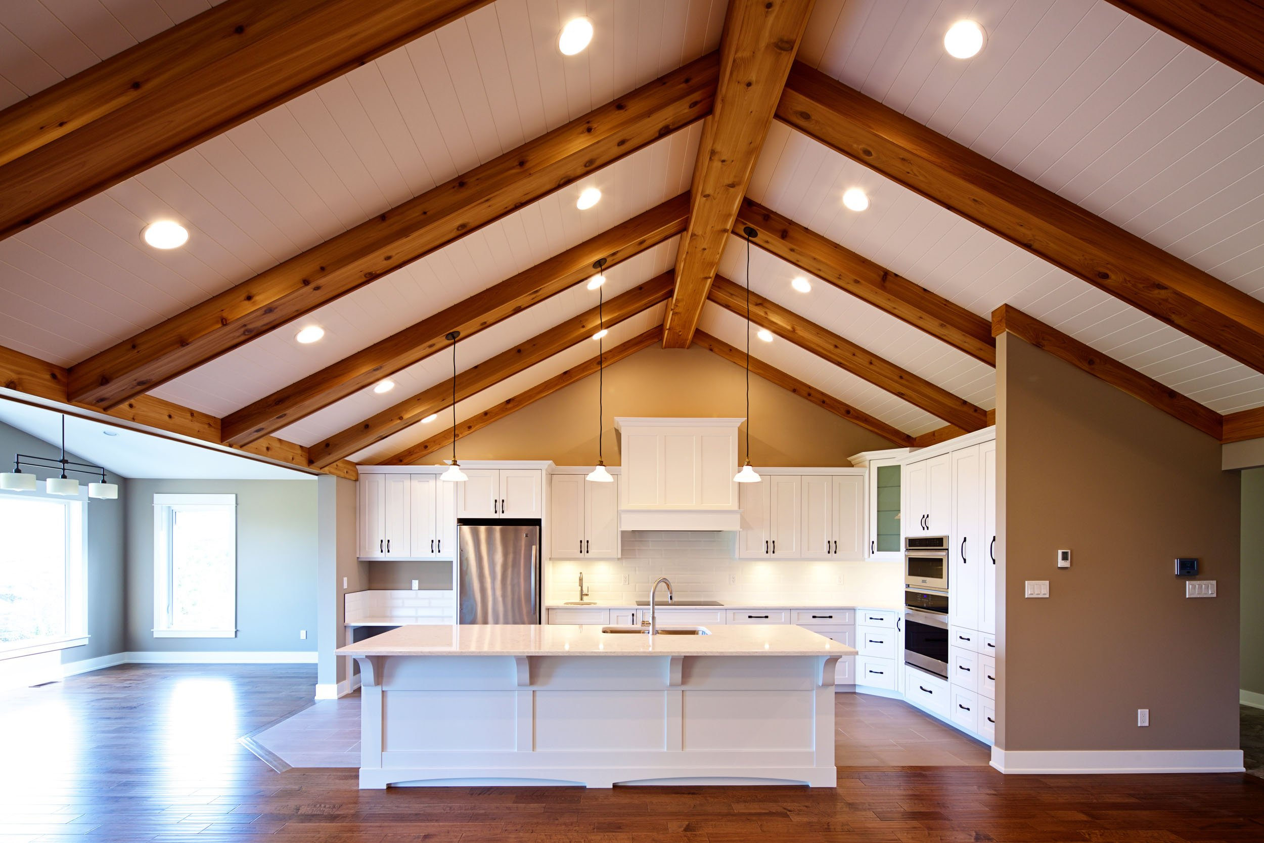 Fresh White Kitchen with Exposed Roof Timbers